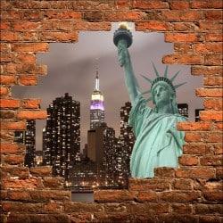 Sticker mural trompe l'oeil New York Statue de la liberté