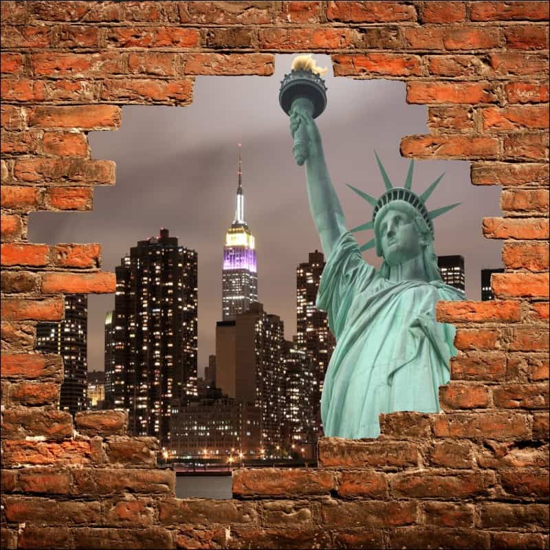 sticker mural trompe l 39 oeil new york statue de la libert art d co stickers. Black Bedroom Furniture Sets. Home Design Ideas