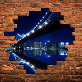 Sticker mural trompe l'oeil New York Brooklyn la nuit