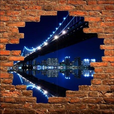 Sticker mural trompe l'oeil New York Brooklyn la nuit