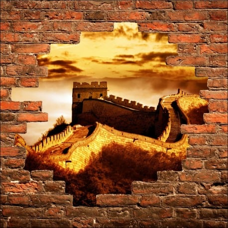 Sticker mural trompe l'oeil Muraille de chine