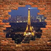 Sticker mural trompe l'oeil Tour Eiffel la nuit