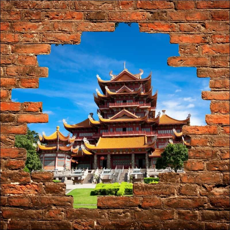 sticker mural trompe l 39 oeil temple chinois art d co stickers. Black Bedroom Furniture Sets. Home Design Ideas