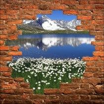 Sticker mural trompe l'oeil paysage montagne
