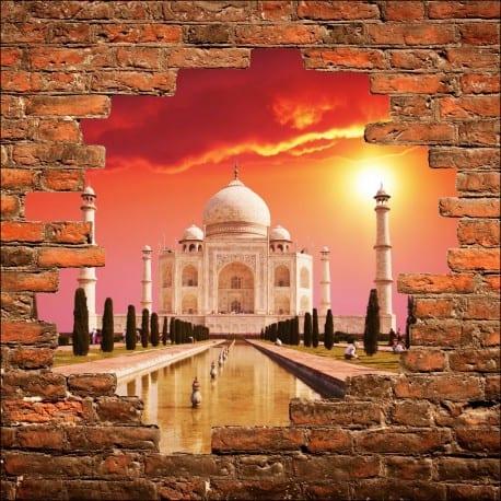 Sticker mural trompe l'oeil Taj Mahal