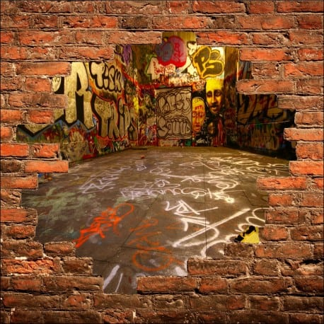 Sticker mural trompe l 39 oeil tag graffiti art d co stickers - Deco trompe l oeil mural ...