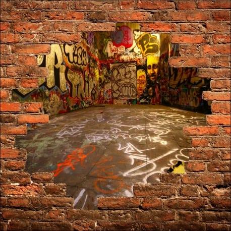 Sticker mural trompe l'oeil Tag Graffiti