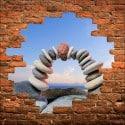 Sticker mural trompe l'oeil Galets