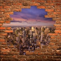 Sticker mural trompe l'oeil New York