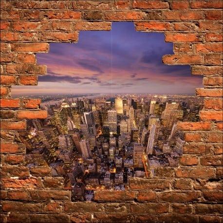Sticker mural trompe l'oeil New York