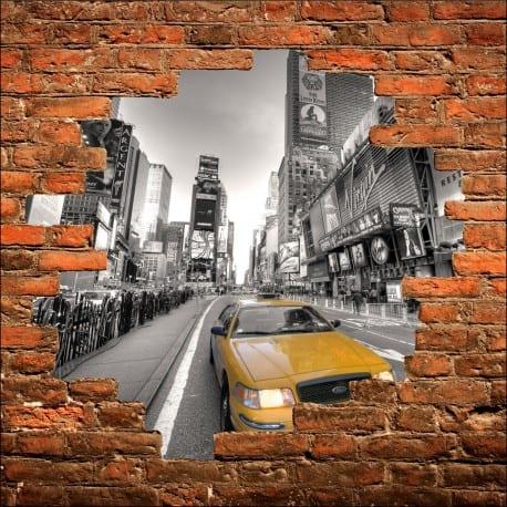 Sticker mural trompe l'oeil New York taxi