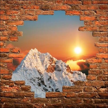 Sticker mural trompe l'oeil Les Alpes couché de soleil