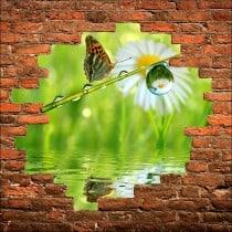 Sticker mural trompe l'oeil Papillon