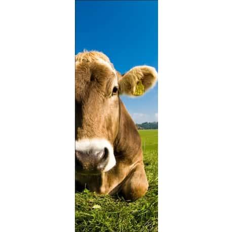 Sticker de porte trompe l'oeil déco vache