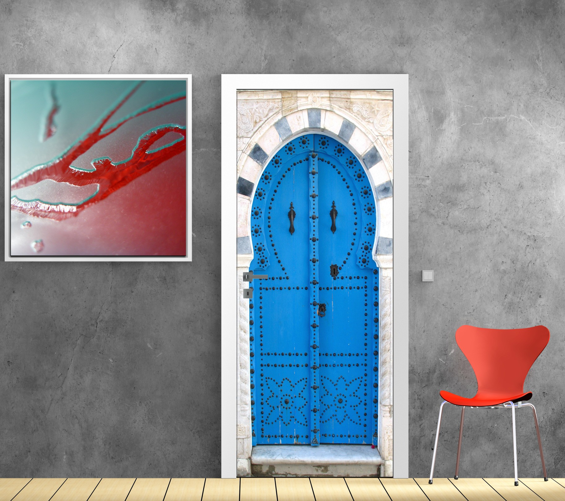Deco porte interieure en trompe l oeil beautiful for Sticker deco porte interieure