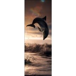 Sticker de porte trompe l'oeil déco dauphin