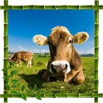 Sticker mural trompe l'oeil déco Vache