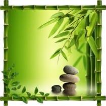 Sticker mural trompe l'oeil déco Galets bambous