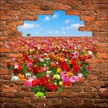 Sticker mural trompe l'oeil Champ de fleurs