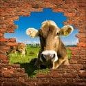 Sticker mural trompe l'oeil Vache