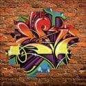 Sticker mural trompe l'oeil Graffiti tag