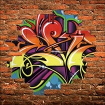 Sticker mural trompe l'oeil Graffiti tag
