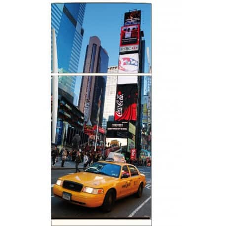 Sticker frigo électroménager déco cuisine New York Taxi 70x170cm