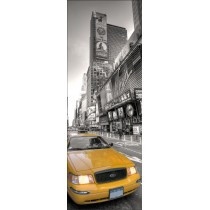 Sticker de porte trompe l'oeil New York Taxi