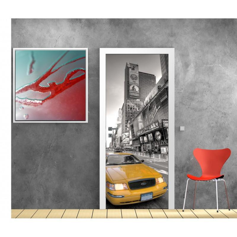 Sticker de porte trompe l 39 oeil new york taxi art d co - Stickers porte new york ...