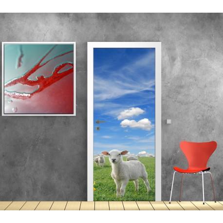 Sticker décoration de porte trompe l'oeil Brebis