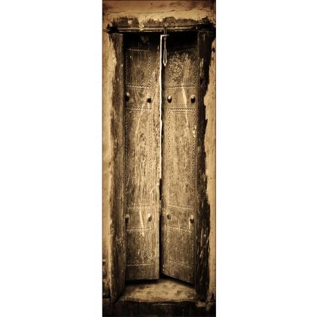 Sticker décoration de porte trompe l'oeil vielle porte