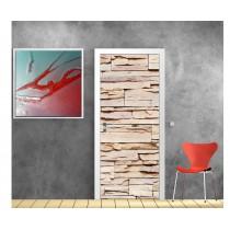 Sticker décoration de porte trompe l'oeil mur de pierre
