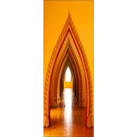 Sticker décoration de porte trompe l'oeil Couloir