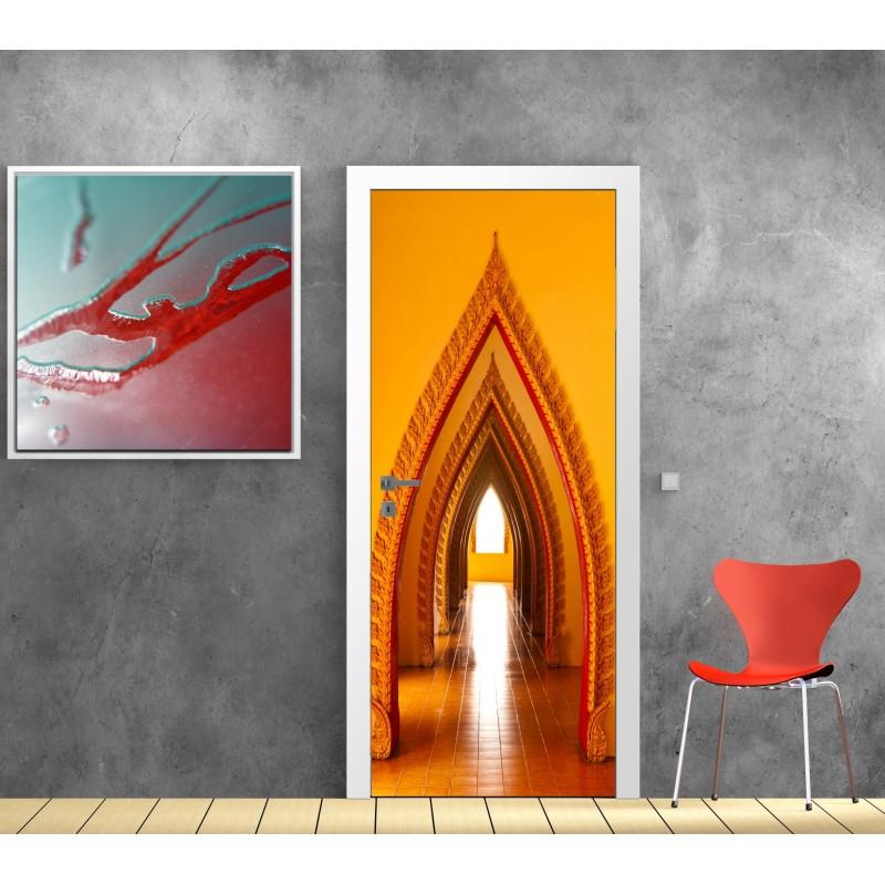 Sticker d coration de porte trompe l 39 oeil couloir orient for Sticker decoration de porte trompe l oeil escalier