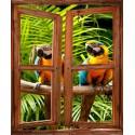 Sticker mural Fenêtre trompe l'oeil déco Perroquet