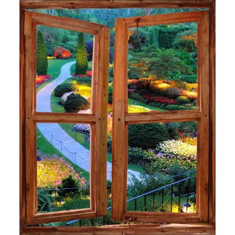 Sticker mural Fenêtre trompe l'oeil déco Jardin
