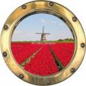 Sticker hublot trompe l'oeil Champ de tulipe