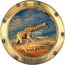 Sticker hublot trompe l'oeil Girafe