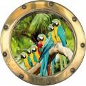 Sticker hublot trompe l'oeil Perroquets