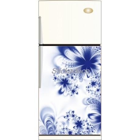 Sticker frigidaire Fleur Bleu