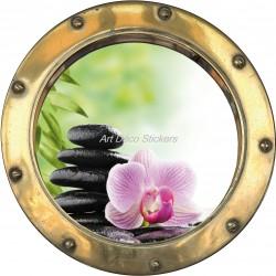 Sticker hublot trompe l'oeil Galets fleur
