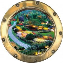 Sticker hublot trompe l'oeil déco jardin