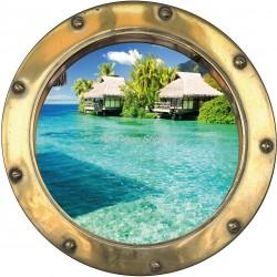 Sticker hublot trompe l'oeil déco Bora Bora