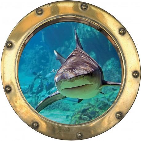 Sticker hublot trompe l'oeil déco Requin