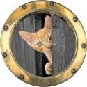 Sticker hublot trompe l'oeil déco Chat