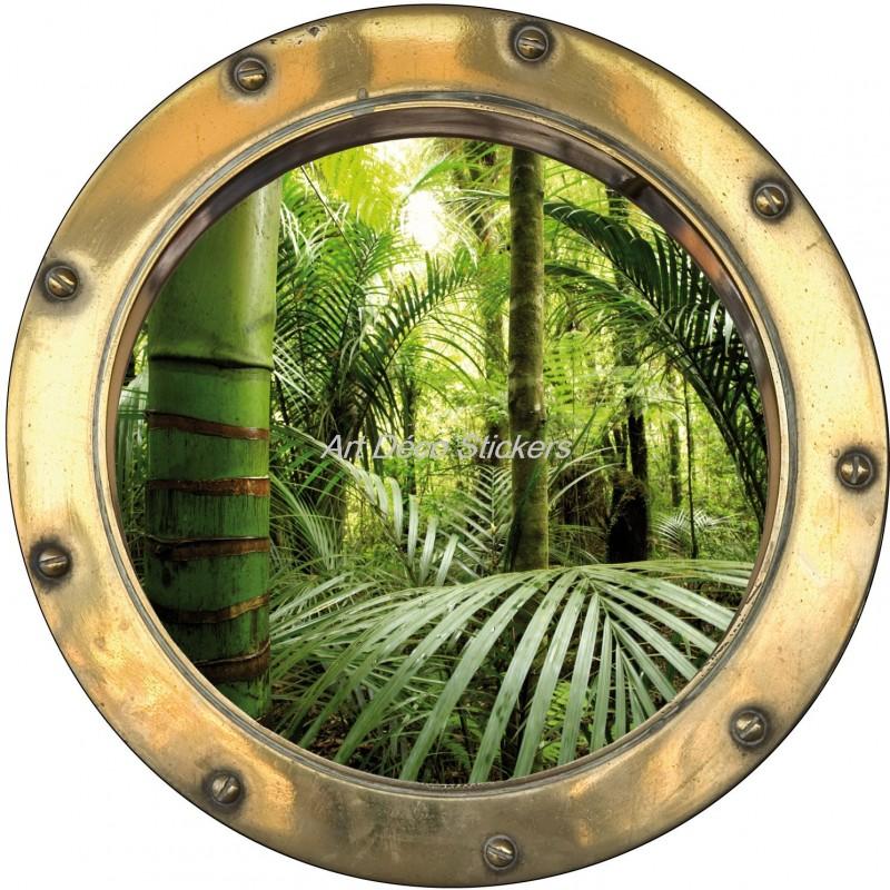 Sticker hublot trompe l 39 oeil d co bambou art d co stickers - Trompe l oeil deco ...