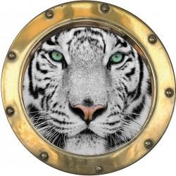 Sticker hublot trompe l'oeil déco Tigre