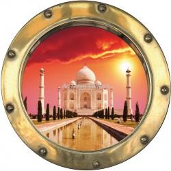 Sticker hublot trompe l'oeil déco Taj Mahal
