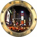 Sticker hublot trompe l'oeil déco New York