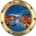 Sticker hublot trompe l'oeil déco Venise